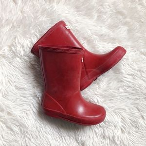 HUNTER KIDS matte red rubber rain boots